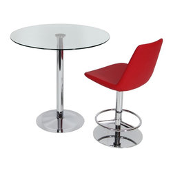 """Eiffel Piston Swivel Stool by sohoConcept - Eiffel Piston is a unique stool with a comfortable upholstered seat and backrest on an adjustable gas piston base which swivels and also adjusts easily from a counter height to a bar height with a lever that activates the gas piston mechanism. The solid steel round base is available in chrome or stainless steel. The seat has a steel structure with """"S"""" shape springs for extra flexibility and strength. This steel frame molded by injecting polyurethane foam. Eiffel seat is upholstered with a removable velcro enclosed leather, PPM or wool fabric slip cover. The stool is suitable for both residential and commercial use."""