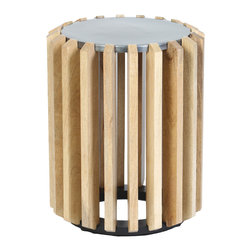 Prima Design - Wooden Plank Drum Table with Metal Top - This accent table does just that, accents a room with a one-of-a-kind style and d�cor, bringing a contemporary touch to any room.