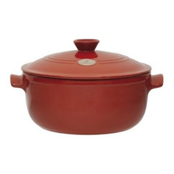 Emile Henry 5.5 qt. Stew Pot - Red - A sizzling red glaze and Dutch oven shape make the Emile Henry 5.5 qt. Stew Pot - Red the showpiece of your kitchen. This stew pot holds a generous 5.5 quarts. With its built-in handles, matching lid, and chili pepper red glaze, this beauty is ideal for oven to tabletop presentation. It excels at slow braising pot roast, simmering soups, and serving up chili. The pot is made from natural clay using an innovative ceramic technology to be incredibly hard and flameproof. This means you can safely use it directly on a heat source like the grill, stovetop, and oven. This stew pot is 30% lighter than cast iron and is dishwasher-friendly for the ultimate convenience. Kitchen savvy tip: season your new stew pot by simmering one inch of milk in the pot for five minutes. Remove from heat and allow to cool before cleaning. This stew pot includes a lid.About Emile Henry Emile Henry was founded in 1850 and is located in Marcigny, a small town tucked within the province of Burgundy, France. It is still owned and operated by the Henry family. Over the generations Emile Henry has established a world-renowned reputation for creating the finest quality ceramic ovenware, gourmet cooking products, and exceptional bakeware products. Their products include baking dishes and cake stands. The discerning gourmand will recognize the quality in every loaf pan, casserole dish, stew pot, handcrafted pie dish, trivet, tagine, and brazier they create. Emile Henry manufacturers all of their cooking products from clay found in the Burgundy region. Burgundy is noted for their world-famous wines due in part to the mineral-rich limestone soil. It is this soil and clay that go into the special clay cookware crafting formulas that are the basis of all Emile Henry ceramic cookware products.