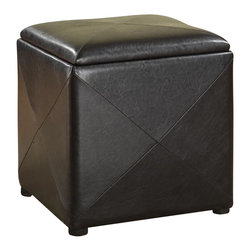 Modus Furniture - Modus Milano Storage Cube in Black Leatherette - Modus Furniture - Ottomans - ML0292F - Add a degree of contemporary elegance to any room in your home with the Milano Storage Cube. Four square leather paneling wraps a square storage compartment accessible by a removable and reversible padded leather top, and the reverse side of the lid is a hardwood serving tray for added convenience.
