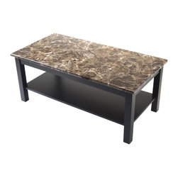 """Winsome Wood - Winsome Wood Torri Coffee Table with Faux Marble Top with Black Finish X-83467 - Torri Occasional Tables Collection features stylish Faux Marble Top in Brown tones.  This coffee table is chic and durable.  The marble laminate top adds to the timeless look to the table and black solid wood accent based gives it a sophisticated look.  Overall Coffee table dimension is 39.37""""W x 19.70""""D x 18""""H.  Table top MDF Top with lamination.  Black finish solid wood legs. Easy Assembly."""