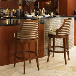 Tommy Bahama by Lexington Home Brands Ocean Club Cabana Swivel Bar Stool - With its eclectic mix of modern design, coastal chic, and upscale in appeal, the Tommy Bahama Home Ocean Club Cabana Swivel Bar Stool is just what you need to enjoy the very best of leisurely island living. The upholstered seat and back in woven cream fabric envelope in comfort, while horizontal slats across the back allow the fabric to be visible, creating an airy, contemporary feel. An all-round footrest makes getting in and out of the stool a breeze, even as the swivel feature ensures you stay up to speed with all the conversations around you. Sturdily constructed of select hardwoods and hickory veneers, this handsome bar stool is finished in warm Bali Brown for a look that is as fetching as it is functional. Please note: This item is not intended for commercial use. Warranty applies to residential use only.About Tommy Bahama HomeTommy Bahama started as an upscale men's casual sportswear line and has transformed into a signature brand, expanding their product line to accommodate women's apparel, golf wear, footwear, home furnishings, and even retail and restaurant compounds. The Tommy Bahama brand represents quality products with fashion forward designs that are available at an affordable price. Their signature island-lifestyle designs suggest a modern style with an emphasis on comfort and relaxation.