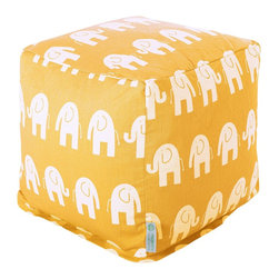 "Majestic Home Goods - Majestic Home Goods Ellie Small Cube - ""Add style and color to your living room or bedroom with Majestic Home Goods Yellow Ellie Small Cube Ottoman. This cube is perfect for use as a footstool, side table or as extra seating for guests. Woven from Cotton, these cube ottomans are durable yet comfortable. The beanbags are and feature a zippered slipcover. Spot clean slipcover with mild detergent and hang dry. Do not wash insert.17"""" L x 17"""" W x 17"""" H"""
