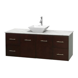 Wyndham Collection - Centra Bathroom Vanity in Espresso,WT  Carrera Top,Pyra White Sink,No Mir - Simplicity and elegance combine in the perfect lines of the Centra vanity by the Wyndham Collection. If cutting-edge contemporary design is your style then the Centra vanity is for you - modern, chic and built to last a lifetime. Available with green glass, pure white man-made stone, ivory marble or white carrera marble counters, with stunning vessel or undermount sink(s) and matching mirror(s). Featuring soft close door hinges, drawer glides, and meticulously finished with brushed chrome hardware. The attention to detail on this beautiful vanity is second to none.