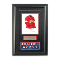 "Heritage Sports Art - Original art of the NHL 1935-36 Detroit Red Wings jersey - This beautifully framed piece features an original piece of watercolor artwork glass-framed in an attractive two inch wide black resin frame with a double mat. The outer dimensions of the framed piece are approximately 17"" wide x 24.5"" high, although the exact size will vary according to the size of the original piece of art. At the core of the framed piece is the actual piece of original artwork as painted by the artist on textured 100% rag, water-marked watercolor paper. In many cases the original artwork has handwritten notes in pencil from the artist. Simply put, this is beautiful, one-of-a-kind artwork. The outer mat is a rich textured black acid-free mat with a decorative inset white v-groove, while the inner mat is a complimentary colored acid-free mat reflecting one of the team's primary colors. The image of this framed piece shows the mat color that we use (Red). Beneath the artwork is a silver plate with black text describing the original artwork. The text for this piece will read: This original, one-of-a-kind watercolor painting of the 1935-36 Detroit Red Wings jersey is the original artwork that was used in the creation of this Detroit Red Wings uniform evolution print and tens of thousands of other Detroit Red Wings products that have been sold across North America. This original piece of art was painted by artist Tino Paolini for Maple Leaf Productions Ltd.  1935-36 was a Stanley Cup winning season for the Detroit Red Wings. Beneath the silver plate is a 3"" x 9"" reproduction of a well known, best-selling print that celebrates the history of the team. The print beautifully illustrates the chronological evolution of the team's uniform and shows you how the original art was used in the creation of this print. If you look closely, you will see that the print features the actual artwork being offered for sale. The piece is framed with an extremely high quality framing glass. We have used this glass style for many years with excellent results. We package every piece very carefully in a double layer of bubble wrap and a rigid double-wall cardboard package to avoid breakage at any point during the shipping process, but if damage does occur, we will gladly repair, replace or refund. Please note that all of our products come with a 90 day 100% satisfaction guarantee. Each framed piece also comes with a two page letter signed by Scott Sillcox describing the history behind the art. If there was an extra-special story about your piece of art, that story will be included in the letter. When you receive your framed piece, you should find the letter lightly attached to the front of the framed piece. If you have any questions, at any time, about the actual artwork or about any of the artist's handwritten notes on the artwork, I would love to tell you about them. After placing your order, please click the ""Contact Seller"" button to message me and I will tell you everything I can about your original piece of art. The artists and I spent well over ten years of our lives creating these pieces of original artwork, and in many cases there are stories I can tell you about your actual piece of artwork that might add an extra element of interest in your one-of-a-kind purchase."