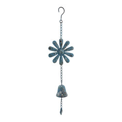 Zeckos - Weathered Finish Hanging Metal Flower with Cast Iron Bell - This ornamental hanging chime features a cast iron bell and a metal flower topper complete with a hook to hang from just about anywhere whether inside your home in the dining room, entryway or living room, or outside on the patio, porch or in the garden. This 22.5 inch long (57 cm) chime boasts a highly weathered blue verdigris finish giving it an antique look, a 2.25 inch high, 2.25 inch diameter (6 x 6 cm) bell, and a 5.5 inch diameter (14 cm) stylized flower all complete on a metal chain. This piece makes a lovely housewarming gift for friends or family that is sure to be admired!