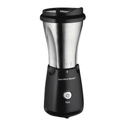 """HAMILTON BEACH BRANDS, INC. - Hamilton Beach Stainless Single-Serve Blender with Travel Lid, 11.8""""Hx3.5""""Wx 3""""D - Hamilton Beach Stainless Single-Serve Blender with Travel Lid is ideal for blending frozen drinks, smoothies, shakes and more to make your mornings easier as it blends in seconds so you can hit the road. The included travel lid allows you to drink directly from the jar, which fits in most car cup holders. It feature stainless steel blades that are specially designed to crush ice."""