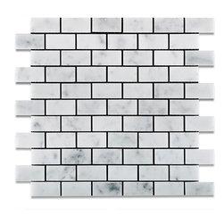 "Tiles R Us - Carrara White Marble Honed 1X2 Subway Brick Mosaic Tile, 1 Sq. Ft. - - Italian Carrara White Marble 1"" X 2"" Honed (Matte Finish) Subway Brick Mosaic Tile."