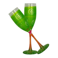 Frosted Curl Light Green Champagne Glasses   Set of 2 - This lovely hand painted champagne flute is one of our top sellers.  It is light green with accent colors and adorned with curls and dots.  Something to be handed down from generation to generation.  Proudly hand painted in the USA.