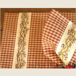 Berry Vine Placemats - Our Berry Vine Placemats are designed for year round use, but could be dressed up for Christmas with a simple red berry candle ring used as a napkin holder.  Cloth is a woven dark red and tan mini-check with a berry vine trim applied.