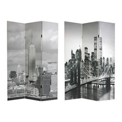 Oriental Furniture - 6 ft. Tall Double Sided New York Scenes Room Divider - Two extraordinary images of the architecture of America's most famous city, one a stately image of the Empire State Building, dominating the daytime skyline, the other, the storied Brooklyn bridge, beautifully lit in a nighttime photo, with lower Manhattan in the background, before the attacks of September 11th. Compelling cityscapes, printed onto six foot tall, three panel room divider screens.