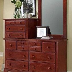 Vaughan Bassett - 10-Drawer Vanity Dresser Set in Cherry Finish - Includes vanity dresser and vanity mirror. Vanity dresser:. 10 Drawers. 56 in. W x 18 in. D x 54 in. H. Cherry finish. Assembly required. Vanity mirror: 31 in. L x 2 in. W x 43.5 in. H