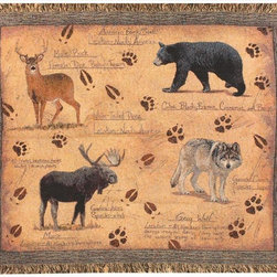 Manual - Animal Instinct Country Cabin Tapestry Throw Blanket 50 Inch x 60 Inch - This multicolored woven tapestry throw blanket is a wonderful addition to your home or cabin. Made of cotton, the blanket measures 50 inches wide, 60 inches long, and has approximately 1 1/2 inches of fringe around the border. The blanket features a print of a deer, black bear, moose and grey wolf, with animal tracks and printed information on each. Care instructions are to machine wash in cold water on a delicate cycle, tumble dry on low heat, wash with dark colors separately, and do not bleach. This comfy blanket makes a great housewarming gift that is sure to be loved.