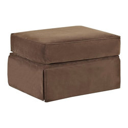 Klaussner - Klaussner Woodwin Ottoman - Chocolate - 12013129159 - Shop for Ottoman & Footstools from Hayneedle.com! Always where you need it the Klaussner Woodwin Ottoman - Chocolate is versatile in design and style. This ottoman has just the right size to make it useful as a footstool extra seat or even casual table. Its tailored look is enhanced by a soft chocolate brown fabric upholstery to go with casual and refined decor. This well-built ottoman has a durable hardwood frame box-style cushion and welt trim for style. Its classic dressmaker skirt completes the look nicely.About KlaussnerWith 16 U.S. manufacturing and distribution facilities and over 3 000 employees Klaussner is well known for its quality value priced home furnishings produced by highly skilled employees and distributed by furniture retailers throughout the world. Asheboro N.C. is home for several of Klaussner's manufacturing and distribution facilities as well as the company's corporate headquarters and a 100 000 square foot showroom. In recent years Klaussner has also begun to utilize worldwide sources to import leather upholstery bedroom dining room occasional entertainment accents and most recently a full line of accessories. This has allowed Klaussner to become a full product and service provider for the whole home.