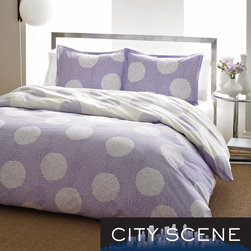 City Scene - City Scene Raindance Wisteria Cotton 3-piece Duvet Cover Set - This City Scene Raindance Wisteria Cotton Duvet Cover Set features a tight formation of two tones of circles that form larger circles. The reverse of this machine washable set provides a negative pattern of the front.