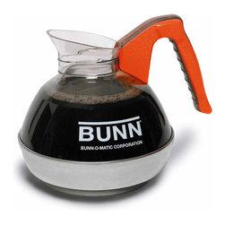 BUNN Products - BUNN Easy Pour Commercial 12-Cup Decaf Coffee - Restaurant-quality BUNN coffeemakers call for restaurant-quality decanters - and this one fits the bill. Just like the ones you'll see at your favorite diner, the BUNN 6101 (with orange handle for decaffeinated coffee) will give you years of service with your BUNN VLPF, VP17-2, VPS or VPR commercial brewer. Full 64-ounce capacity for use with 12-cup BUNN commercial brewers only (VLPF, VP17-2, VPS, VPR) - not 10-cup home brewers. Container and handle core are clear, high-impact-resistant material -- all molded as sturdy, extra-strength, one piece construction for longest life. Base is high quality stainless steel. Drip-proof, fast pouring lip -- an exclusive BUNN-O-Matic design to assure convenient serving. Fast, clean pouring from front or either side. . Designed to hold coffee at proper temperature -- keeps coffee fresher, longer. Constructed of materials approved by NSF for potable water applications. 8.25 x 7 x 7.75