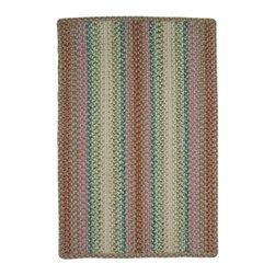 Homespice - Homespice Morning Garden Braided Rectangle Rug - Enjoy this cheerful collection of rose, cranberry, green, blue, cream and coral while you sip your first cup of coffee or tea. There is no need to compromise beauty for durability. Our Ultra Durable indoor/outdoor rugs are amazing. They resist stains from food, pets, and liquids, while adding color, texture and interest to all your living spaces. This amazing absorbent material leaves the surface below dry with most moderate spills. To clean, simply run under water in your sink or use a hose. These Ultra Durables are thinner and flatter and feature a vertical braid with anti-skid backing. Perfect for kitchens, baths, and entry ways.