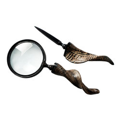 Foreign Affairs Home Decor - POSTE - Set of Magnifying Glass & Letter Opener, Curved Goat Horn Handles - Beautiful objects - our set of magnifying glass and letter opener with a twisted, natural Ram's horn handle.
