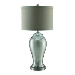 "Crestview - Crestview CVABS671 Diana Table Lamp - Diana Table Lamp Diana Table Lamp 30""Ht. Glass&Metal Pearlescent Gold Finish 15 x 15 x 11 Silk Shade  30""Ht. with 15 x 15 x 11 Silk Shade"