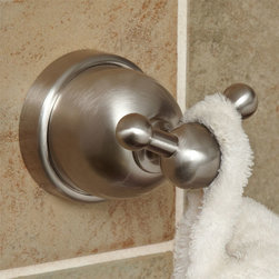 Cade Double Robe Hook - The Cade Collection Double Robe Hook has a clean display with concealed mounting screws and the necessary installation hardware is included. This solid brass piece allows you to hang multiple robes or towels in one convenient location.