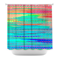 DiaNoche Designs - Shower Curtain Artistic - Ethnic Sunset - DiaNoche Designs works with artists from around the world to bring unique, artistic products to decorate all aspects of your home.  Our designer Shower Curtains will be the talk of every guest to visit your bathroom!  Our Shower Curtains have Sewn reinforced holes for curtain rings, Shower Curtain Rings Not Included.  Dye Sublimation printing adheres the ink to the material for long life and durability. Machine Wash upon arrival for maximum softness. Made in USA.  Shower Curtain Rings Not Included.