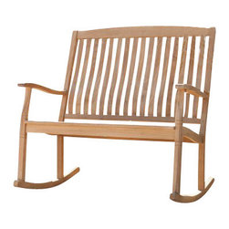 Holly and Martin - Rockfort Teak Double Rocker - This beautiful double rocker with resilient teak construction makes it easy to relax and enjoy the outdoors. A two-seater take on the classis porch rocker is the perfect spot to relax - spread out, or cozy up with a friend!
