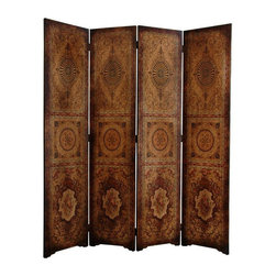 Oriental Furniture - 6 ft. Tall Olde-Worlde Parlor Room Divider - Well crafted, solid and substantial, the wood panels are finished with top quality, textured faux leather, printed with a lovely triptych medallion design motif in rich, warm colors, on both sides of each panel. Great for a decorative background in the living room or a formal dining room, as well as a convenient privacy screen for temporarily hiding a work area or blocking the view from a window or doorway.
