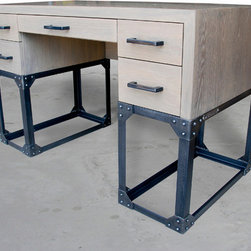 Brandner Design Custom Furniture - What a cool desk!  Another part of the Pittsburgh Series that we are very proud of.  The Pittsburgh Desk is an industrial desk with a sophisticated style and exceptional attention to detail and quality.  Made from angle iron, rivets and wire wheeled White Oak colored with our signature Pittsburgh Stain.  Available in custom sizes and finishes.  Please contact us at sales@brandnerdesign.com.