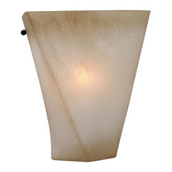 Golden Lighting - Genesis 1-Light Wall Sconce - Twist and shout. You're going to love the glow of this quartz-textured sconce. The gently swirling geometric shape and warm color of the glass shade will light up your hallway or entryway.