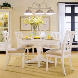 "American Drew 920-701R-SET Camden White - Round Dining Table Set Camden - Light - Camden White - Round Dining Table Set - American Drew Camden - Light Collection 920-701R-SETFeatures:The finish on this collection is a CREAM color. (NOT White)16"" Removable LeafThis Price Includes:Table TopTable BaseSplat Back Side ChairSplat Back Side ChairSplat Back Side ChairSplat Back Side ChairItem:Weight:Dimensions:Round Table148 lbs48"" W X 30"" H X 48"" LSplat Back Side Chair27.5 lbs20"" W X 24"" D X 39"" HSplat Back Side Chair27.5 lbs20"" W X 24"" D X 39"" HSplat Back Side Chair27.5 lbs20"" W X 24"" D X 39"" HSplat Back Side Chair27.5 lbs20"" W X 24"" D X 39"" HTotal Weight:256 lbs;"