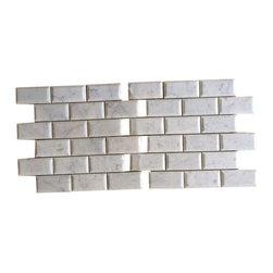 "Tiles R Us - Carrara Marble Honed 2x4 Beveled Subway Brick Mosaic Tile, Box of 5 Sq. Ft. - Premium Italian Carrara White Marble Honed 2"" X 4"" Beveled Subway Brick Mosaic Tile"