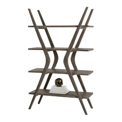 Arteriors - Lucas Bookshelf - This uniquely shaped solid wood bookshelf is hand finished in a gray limed oak to enhance the wood grain. The design looks great from any angle and is the perfect place to spotlight your collectibles or display those favorite books.