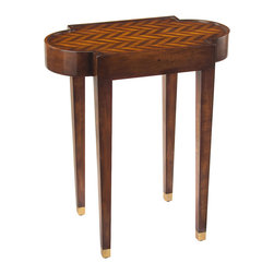 John Richard - John Richard Herringbone Side Table EUR-03-0333 - Herringbone marquetry top in walnut and sycamore, supported by 4 tapered legs with gilt accents, finished in walnut.