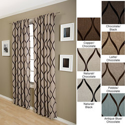 None - Sahara Rod Pocket 120-inch Curtain Panel - This 120-inch rod-pocket curtain panel is made of polyester and nylon and features a modern flocked design. It is available in several background colors with chocolate design patterns,and features a rod pocket for easy hanging in your home.