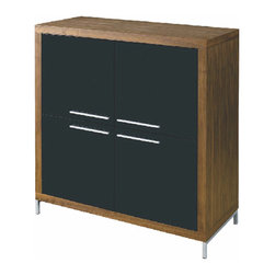 Nuevo Living - Silva Square Buffet, American Walnut - With its clean silhouette and modish square motif, this buffet brings sleek geometric style into the room. The four square doors are available in either walnut veneer or in contrasting black lacquer to stand out from the square wood frame. Those linear metal handles meeting in the center add a final modern touch. Two fixed shelves give you four compartments; there are also two adjustable shelves.