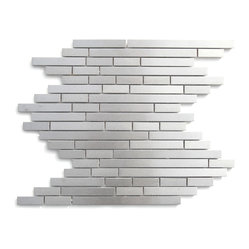 Eden Mosaic Tile - Modern Random Linear Brick Metal Mosaic, Sample - This ultra modern tile is comprised of various sizes of stainless steel. Use this steel mixed mosaic on kitchen backsplashes bathroom walls fireplaces and even accent walls. The tiles in this sheet are mounted on a nylon mesh which allows for an easy installation. Imported.