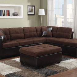 Coaster - Mallory Sectional with Ottoman, Chocolate - Bring an inviting and warm atmosphere to your living room with our Mallory sectional. Chocolate or tan microfiber match is paired with tri-tone leather-like vinyl to create a casual style. Loose seat and back cushions will keep you and your guests comfortable and complementary accent pillows add style to this piece. Our Mallory sectional has reversible construction making it easy to change the look of your room. Pair this piece with a matching ottoman.