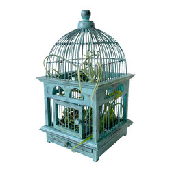 EarthSeaWarrior - Air Plant in Blue Bird Cage Distressed Teak Live Garden - A hanger hook will be included with purchase (not in photos). It screws into the top knob of the cage, giving the displaying options some well deserved versatility