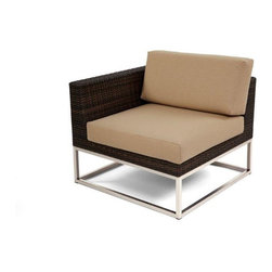 Caluco - Mirabella Right Sectional - The Mirabella Reight Sectional combines style, durability, and comfort to provide unmatched value in outdoor seating.  Pictured in the dark java wicker with stainless steel finish.