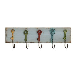 Benzara - Captain Key Styled Wood Metal Wall Hooks - Captain Key Styled Wood Metal Wall Hooks. Are you in search of some stylish and creative wall hooks? This key styled funky wall hook will interest you wholly. Some assembly may be required.