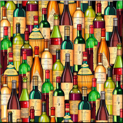 The Tile Mural Store (USA) - Tile Mural - Stacked Wine Bottles   - Kitchen Backsplash Ideas - This beautiful artwork by Dan Morris has been digitally reproduced for tiles and depicts a wine collage.    Our decorative tiles with wine are perfect to use for your kitchen backsplash tile project. A wine tile mural adds elegance and interest to your kitchen wall tile area and makes a wonderful kitchen backsplash idea. Pictures of wine on tiles and images of wines bottles on tiles and wine glasses on tiles is timeless and these decorative tiles of wine blend with any decor. Your kitchen will come to life with a tile mural featuring wine.