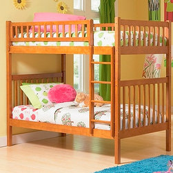 Arizona Twin over Twin Bunk Bed - The Arizona Twin over Twin Bunk Bed in Caramel Latte Finish - Atlantic Furniture features 26 steel reinforcement points and the material used in this product is solid eco-friendly hardwood. This bed features simple lines of the head and foot boards that have the characteristic slats of the Mission style and are accented a high build finish which is both durable and beautiful. The total height of the bed once it is all put together is 67.13 inches. Maximum mattress height for top bunk is 6 inches.