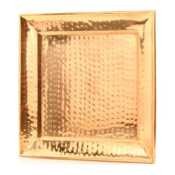 "Old Dutch International - 13½"" Square Decor Copper Hammered Tray - Serve in style with this sleek, handmade copper hammered tray. This square gem will look amazing with any decor, and would work equally well as a serving tray and as a display item."