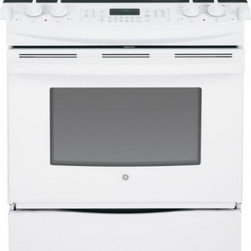 """GE - JS750DFWW 30"""" Slide-In Electric Range & In White - The GE JS750 30 in 44 Cu Ft Slide-In Electric Range with Self Cleaning oven in Stainless Steel features True European Convection Cooking with Precise Air plus Self-Cleaning with a Steam Clean option A Tri-Ring burner with 12 in 9 in and 6 in capabili..."""