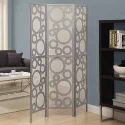 Monarch - Silver Frame 3 Panel Bubble Design Folding Screen - A contemporary dividing screen like this is a unique addition to any room in the home. Made with silver solid wood, this screen features a contemporary circle pattern giving an airy and bubbly accent to your space.