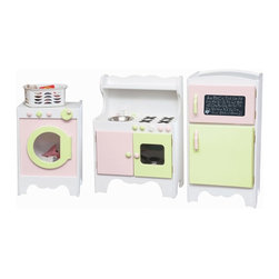 Little Colorado - Little Colorado 3 Piece Painted Play Kitchen Room Set - LC160 - Shop for Cooking and Housekeeping from Hayneedle.com! Bright and cheerfully painted the Little Colorado 3 Piece Painted Play Kitchen Room Set brings an element of fun to housework. With the play kitchen they'll wash prep and saute the finest play cuisine. The 36 lb. hardwood body of this kid-sized kitchen features a stainless steel sink with turning knobs a stove and working cabinet doors to store all those pots and pans or to become a pretend oven.Add some plastic food and the play refrigerator is a key part of any little chef's kitchen of imagination. Sized just right for the little ones this 40 lb. hardwood refrigerator features separate freezer and refrigerator compartments with interior shelf doors as well as ventilation and pinch protection. No assembly is required and the freezer door comes with a chalkboard to complete the experience.Your kids get a sweeter deal than the rest of us because their final appliance can be both a washer and dryer at the same time. The smooth hardwood body weighs 37 lbs and features a crank on the front that turns the clothes as your children watch them tumble through the shatter-proof acrylic window. No assembly is required. Recommended ages 3-6 years. Dimensions: 24L x 14W x 34H inches. Little Colorado is a Green CompanyAll finishes are water-based low-VOC made by Sherwin Williams and other American manufacturers. Wood raw materials come from environmentally responsible suppliers. MDF used is manufactured by Plum Creek and is certified green CARB-compliant and low-formaldehyde. All packing insulation is 100% post-consumer recycled. All shipping cartons are either 100% post-consumer recycled or are made of recycled cardboard. About Little ColoradoBegun in 1987 Little Colorado Inc. creates solid wood hand-crafted children's furniture. It's a family-owned business that takes pride in building products that are classic stylish and an excellent value. A