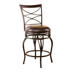 Holly and Martin - Kingsgate Swivel Counter Stool - Enrich your home with stylish convenience. The intricate details, intersected arcs, and curved legs of this counter stool yield a beautiful, timeless appearance.