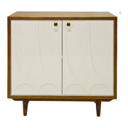 "Worlds Away - Worlds Away Irving Rosewood and White Lacquer - Leaping off the set of ""I Love Lucy"" or ""My Three Sons"" this thoroughly midcentury modern bureau will take you back. Whether you lived through the '50s and '60s or just covet the style, this rosewood and white lacquer cabinet hold all the promise of that wholly transformative time."