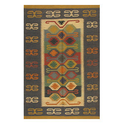 Rugsville - Rugsville Rug Southwestern 13617-46 Blue Beige - There are some abstract patterns that will go well along your modern home decor. You may even want to get some of these carpets for your living room and spacious places. There are different choices in colors, sizes and shapes as well. 100% Natural wooland Jute. Extremely durable for high traffic areas. Meticulously woven flat-weave rug handmade in India. Made by skilled artisans in the villages of North Central India with careful attention given to the pattern detailing.