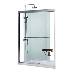 BathAuthority LLC dba Dreamline - Duet Frameless Bypass Sliding Shower Door and SlimLine Shower Base - Choose the perfect solution for a bathroom remodel or tub-to-shower conversion project with a DreamLine shower kit. This kit includes a Duet bypass sliding shower door and a coordinating SlimLine shower base. The Duet has two sliding glass panels that bypass each other to allow entry in to the shower space from either side. A SlimLine shower base completes the picture with a modern low profile design. Choose a beautiful and efficient DreamLine shower kit to completely transform a shower space.